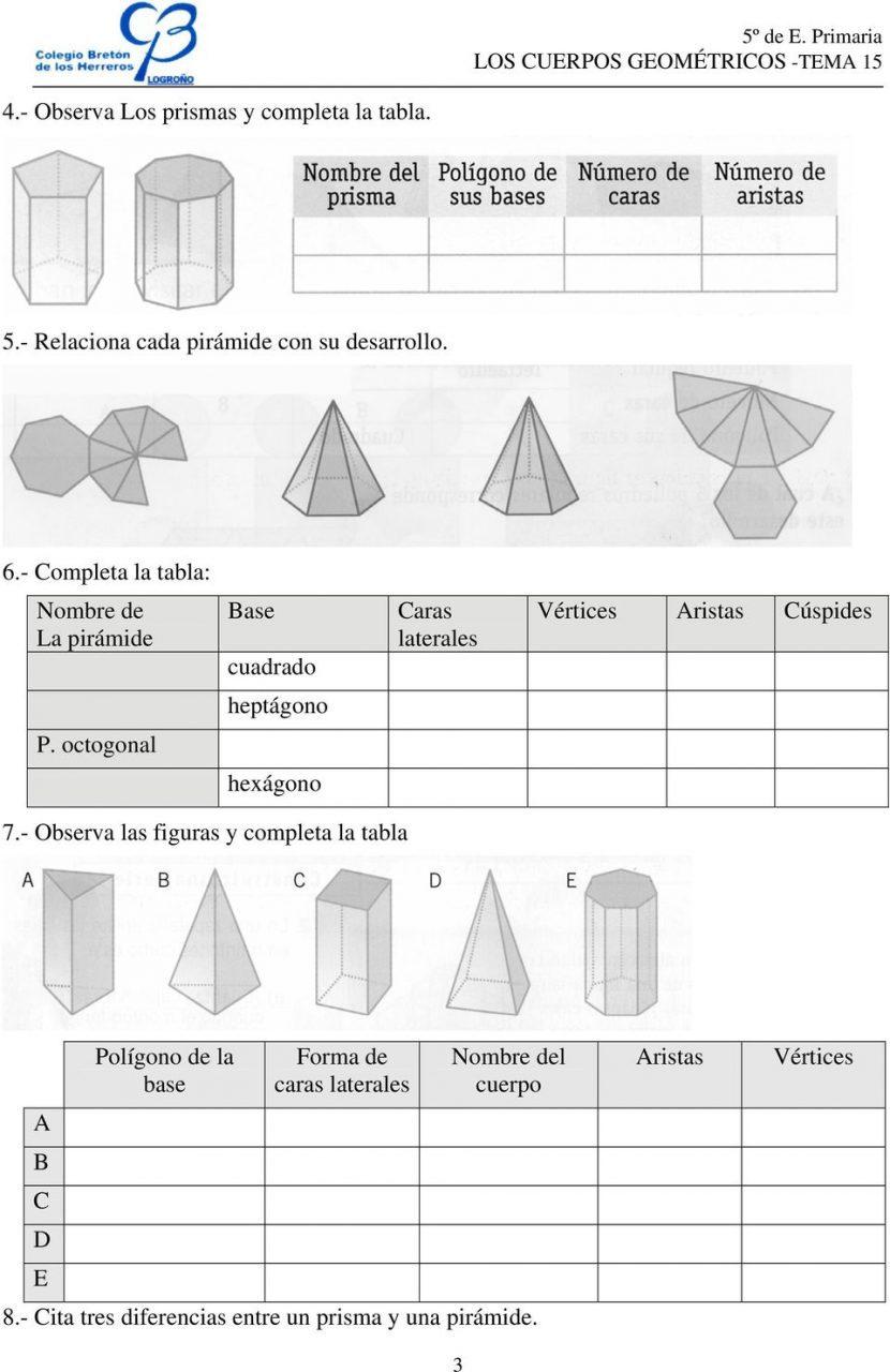 Cuerpos geometricos 6 primaria ejercicios para imprimir, masquelibros