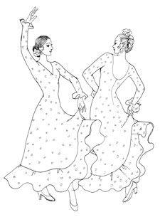 Dibujos de baile flamenco para colorear e imprimir, masquelibros