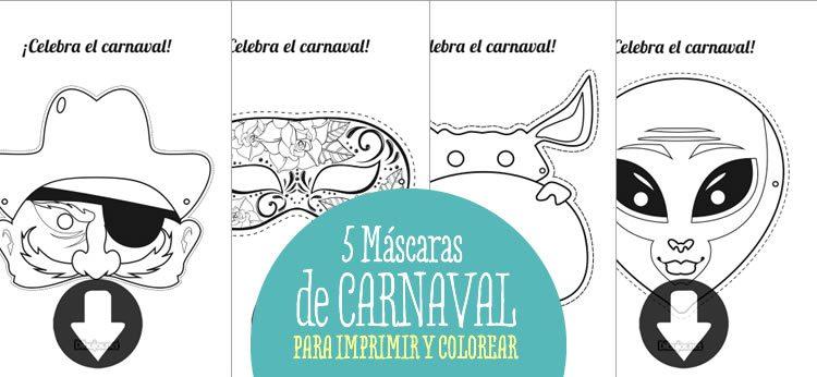 Dibujos de carnaval para colorear e imprimir, masquelibros