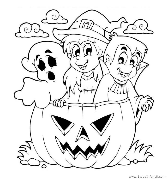 Dibujos de halloween para colorear e imprimir, masquelibros