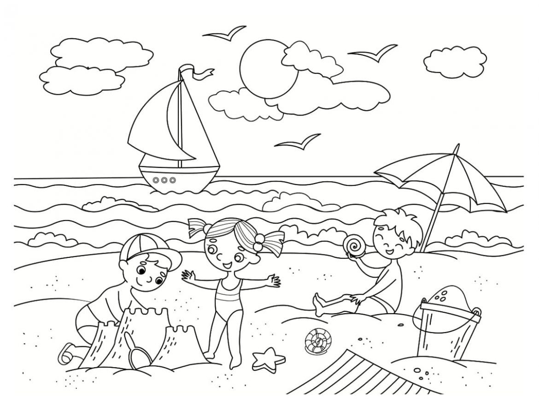 Dibujos de playa para colorear e imprimir, masquelibros
