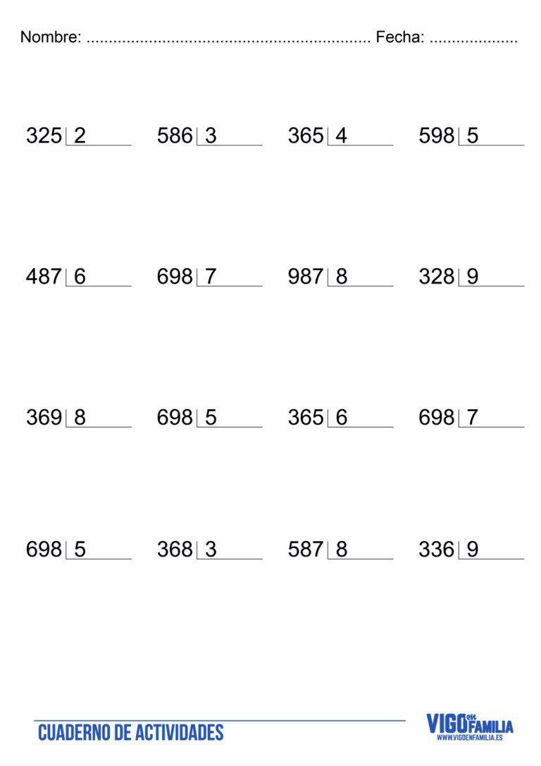 Divisiones de tres cifras para imprimir, masquelibros
