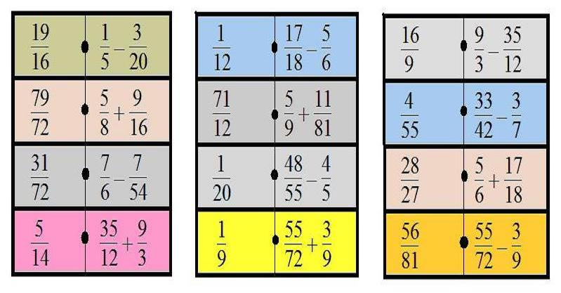 Domino de fracciones para imprimir, masquelibros