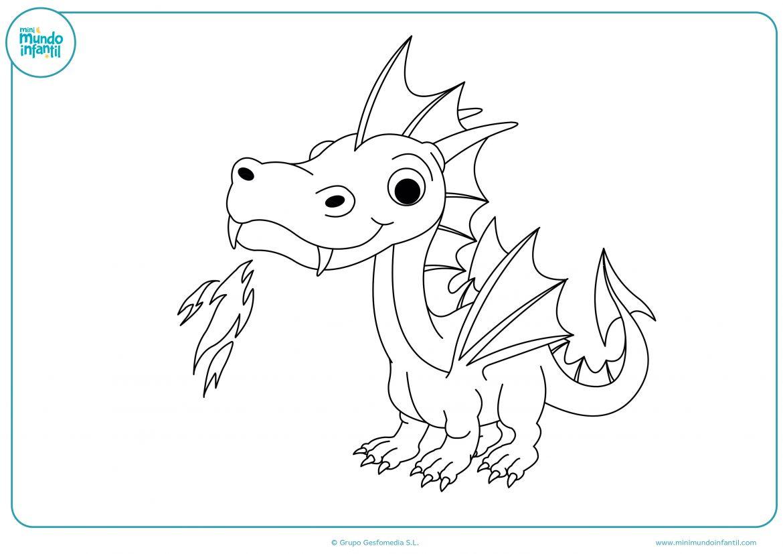Dragon para colorear e imprimir, masquelibros