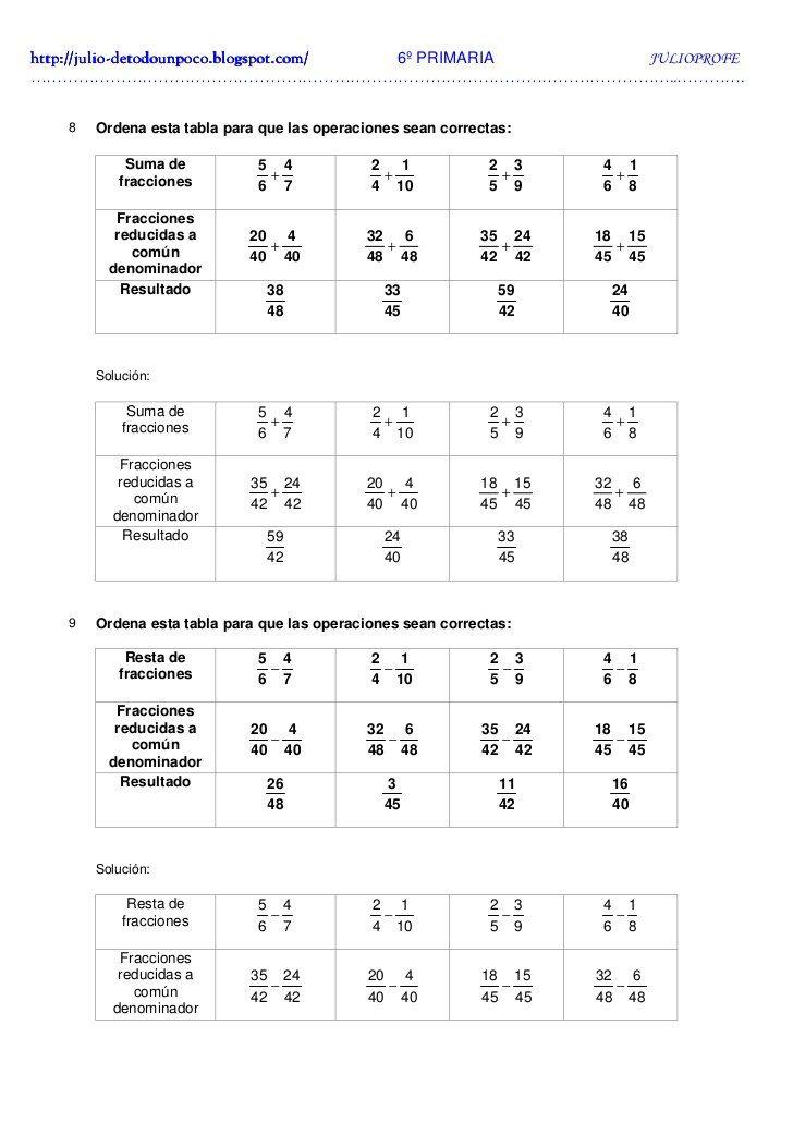 Ejercicios fracciones 6 primaria imprimir, masquelibros