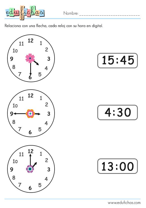 Ejercicios relojes digitales y analógicos para imprimir, masquelibros