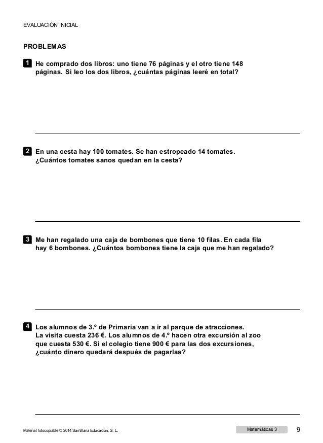 Examenes matematicas 3 primaria para imprimir, masquelibros