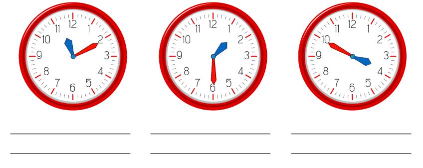 Fichas de horas en ingles para imprimir, masquelibros
