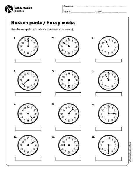 Fichas de relojes para imprimir, masquelibros