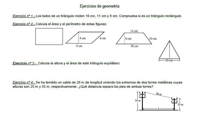 Fichas de repaso para imprimir sobre area y perímetro primaria, masquelibros