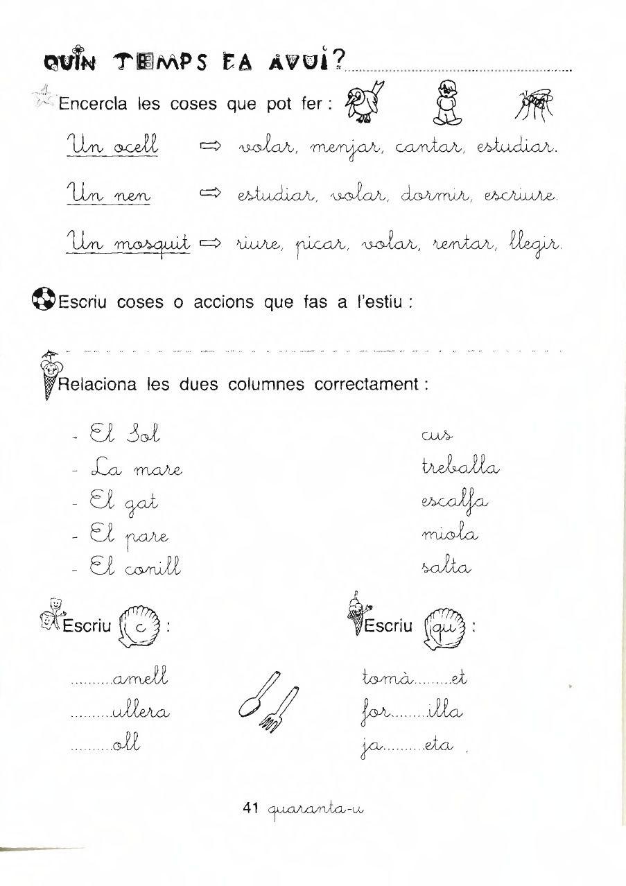 Fitxes primaria per imprimir català, masquelibros