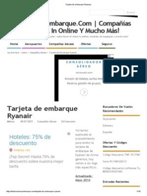 Imprimir tarjeta embarque ryanair edreams, masquelibros