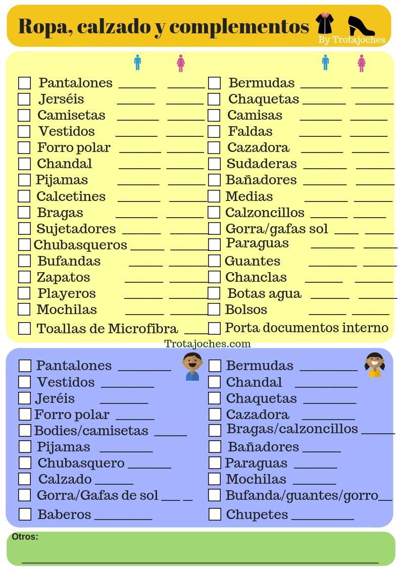 Lista de viaje para imprimir, masquelibros