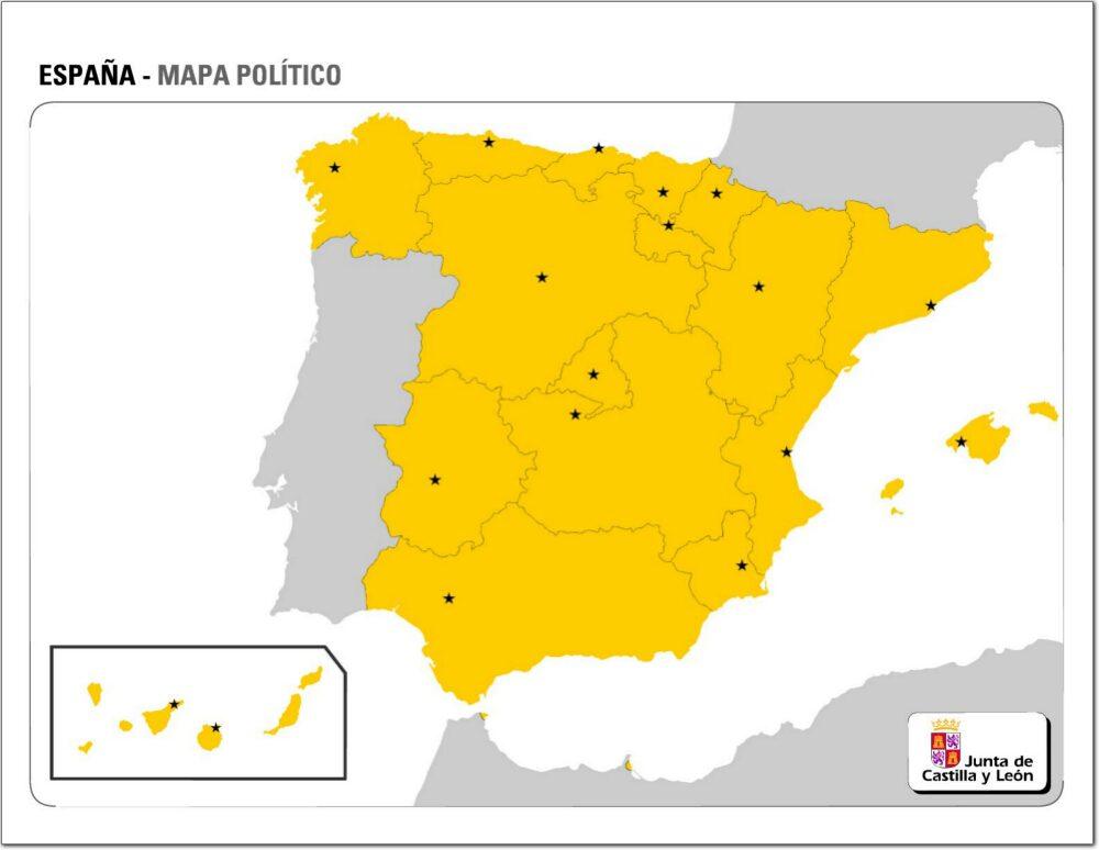 Mapa comunidades autonomas españa para imprimir, masquelibros