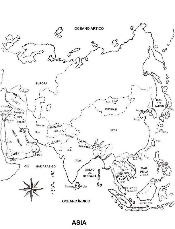 Mapa de asia para imprimir, masquelibros