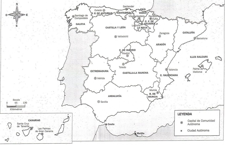 Mapa de españa en blanco y negro para imprimir, masquelibros