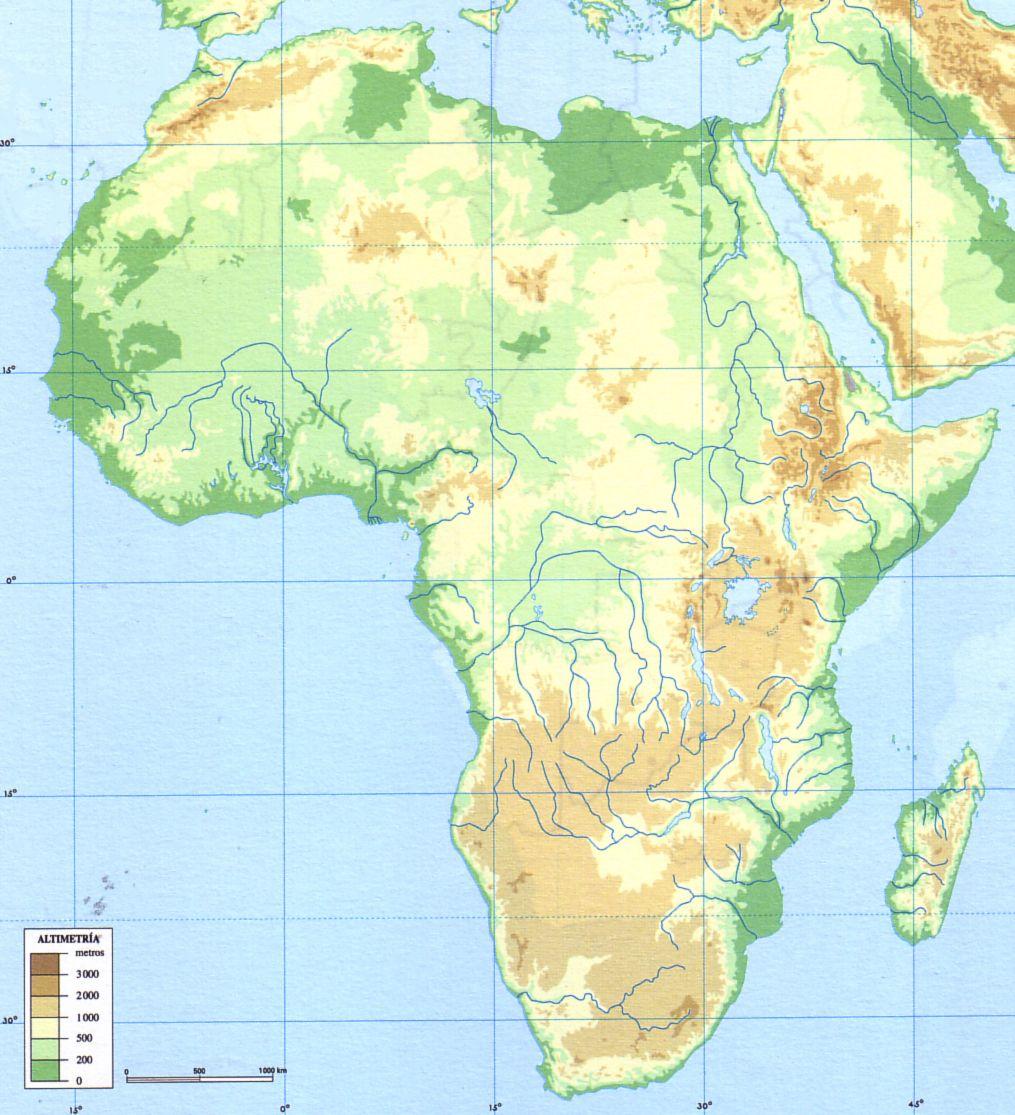 Mapa fisico de africa mudo para imprimir, masquelibros