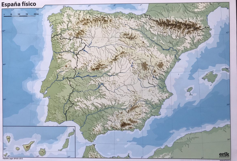 Mapa fisico de españa para imprimir en a4, masquelibros