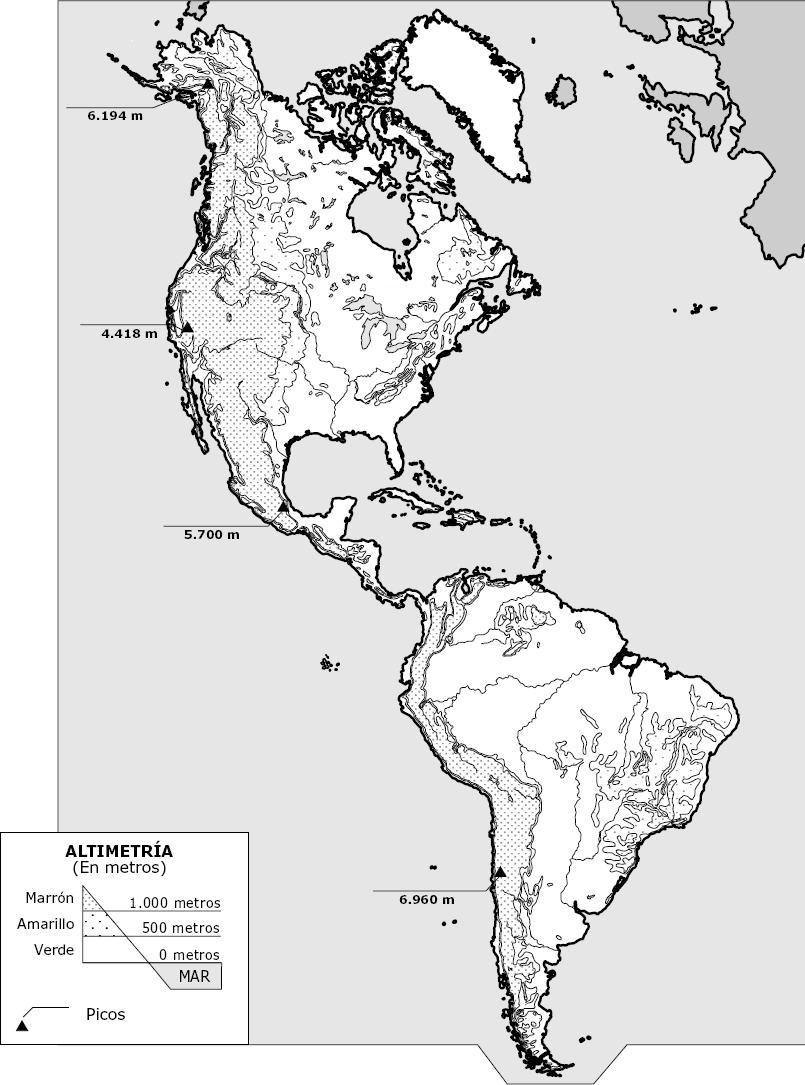 Mapa mudo de america para imprimir, masquelibros