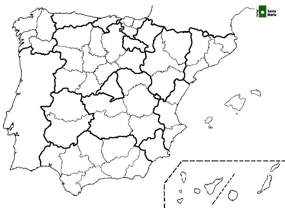 Mapa mudo provincias españa para imprimir, masquelibros