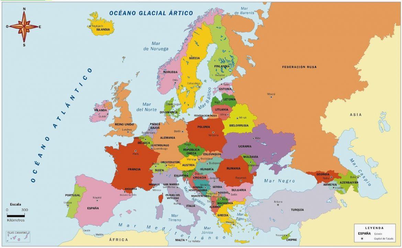 Mapa politico mudo de europa para imprimir en a4, masquelibros