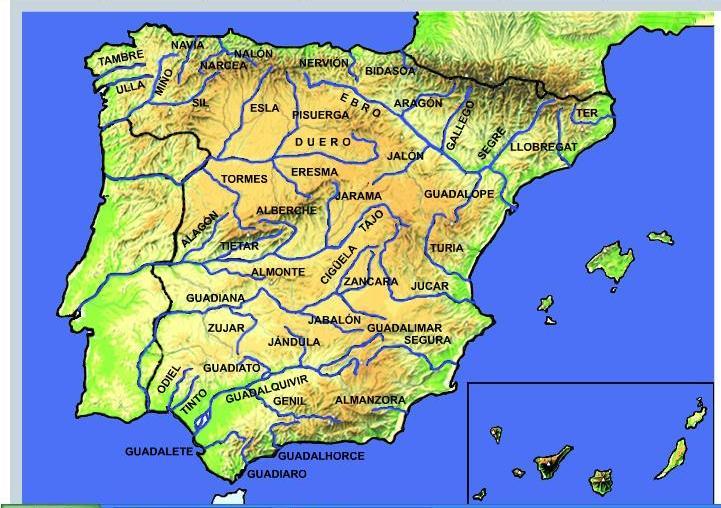 Mapa rios de españa para imprimir, masquelibros