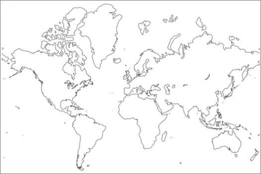 Mapamundi blanco y negro para imprimir, masquelibros