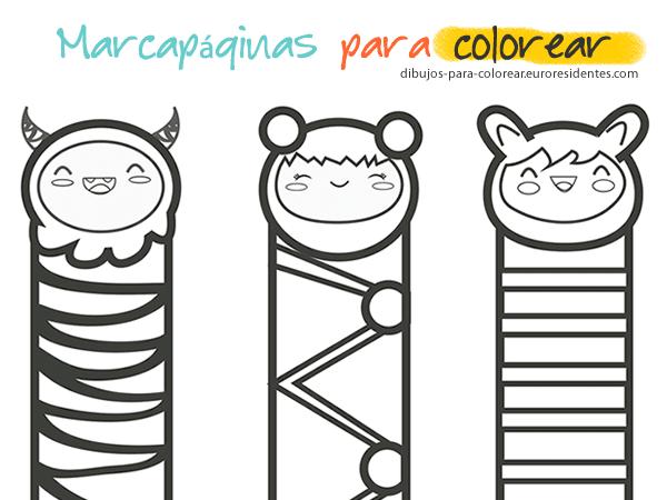 Marcapaginas infantiles para colorear e imprimir, masquelibros
