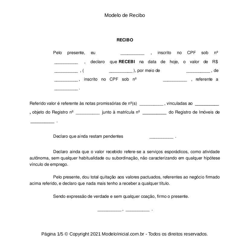 Modelo de recibo de pago para imprimir, masquelibros