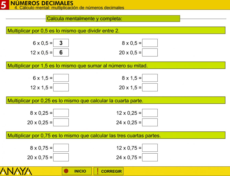 Multiplicaciones con decimales para imprimir, masquelibros