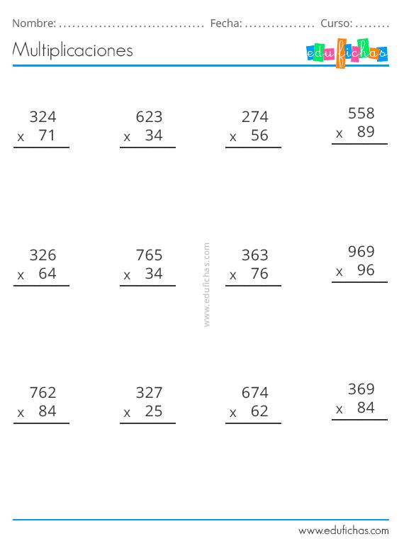 Multiplicaciones de tres cifras para imprimir, masquelibros