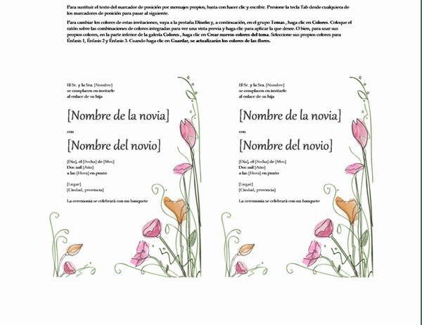 Plantillas invitaciones de boda gratis para imprimir, masquelibros