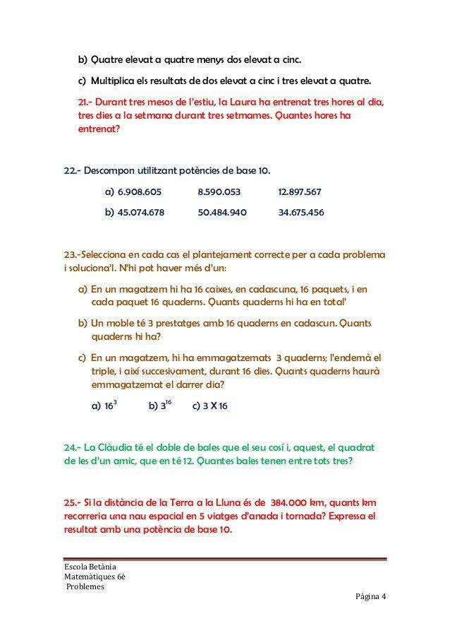 Problemes de matematiques 6è primaria per imprimir, masquelibros