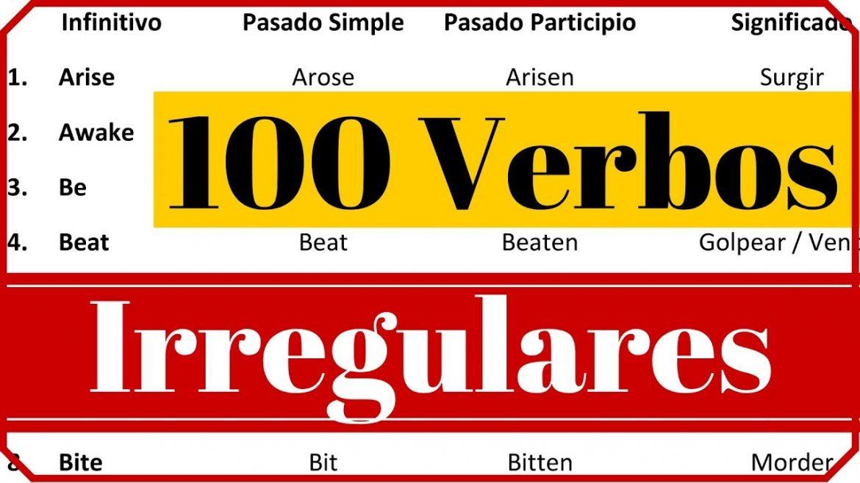 Verbos irregulares en ingles para imprimir, masquelibros
